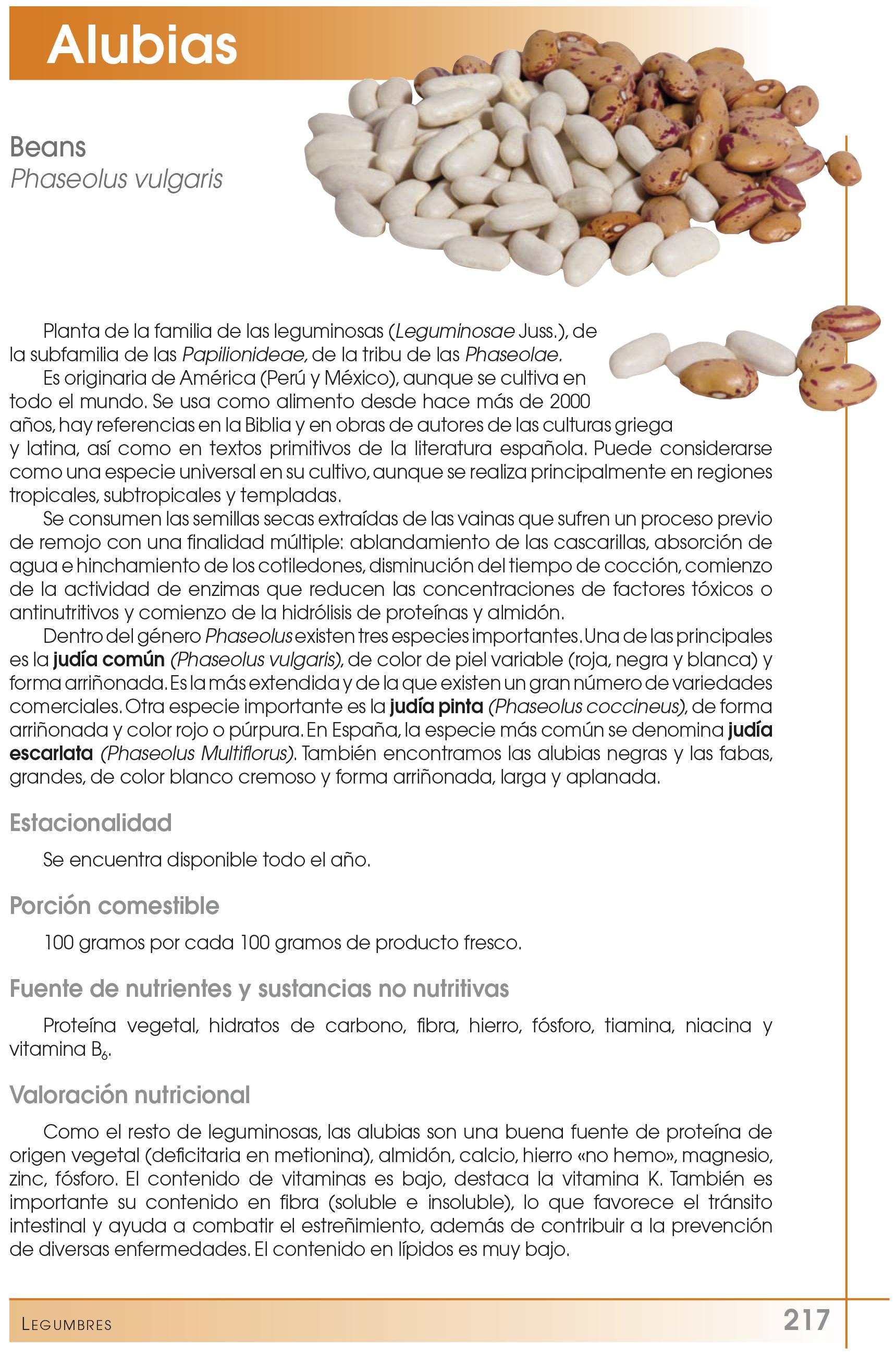 nutricional alubias